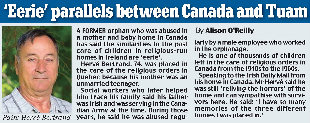 'Eerie' parallels between Canada and Tuam, Irish Daily Mail: April 3, 2017.